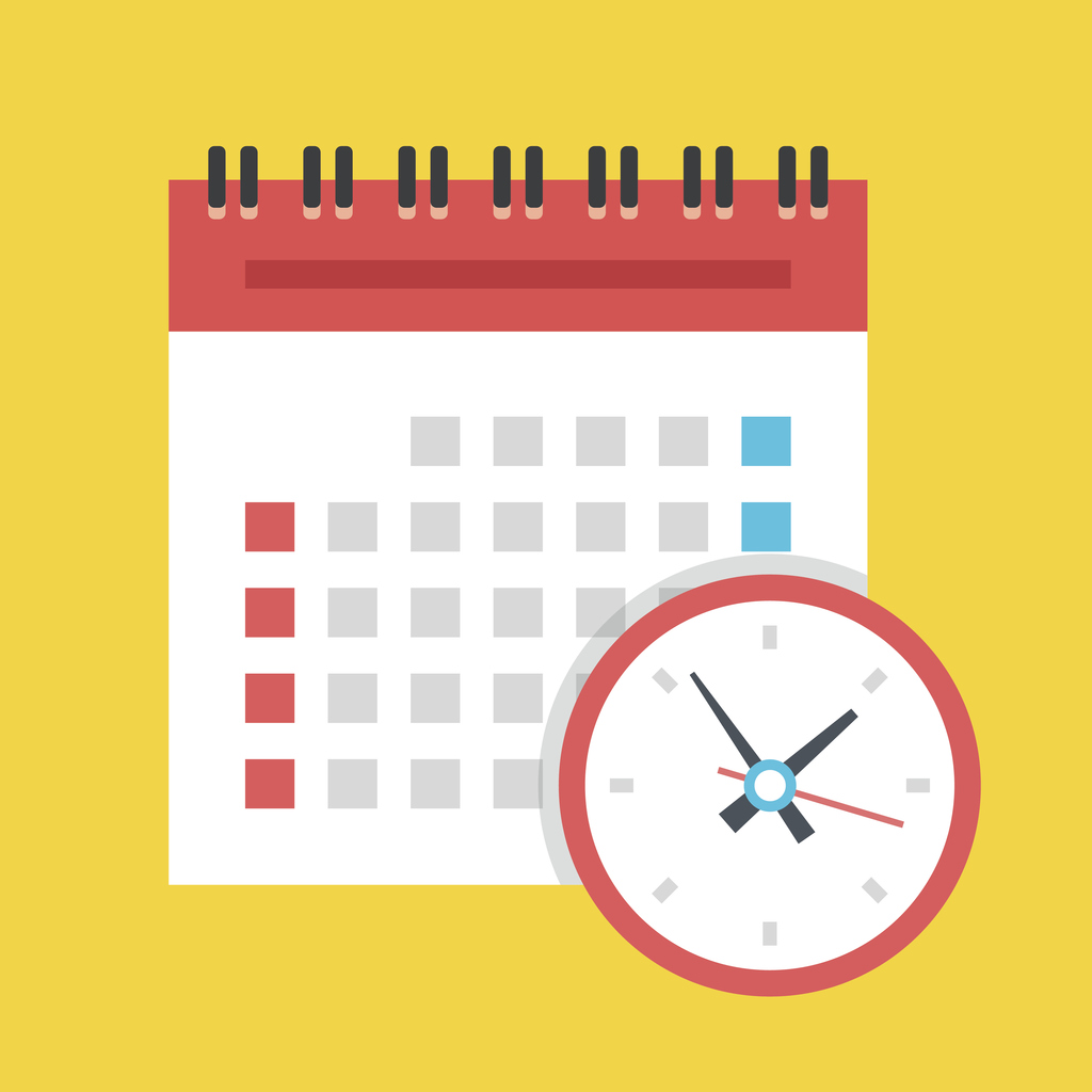 Events calendar and clock icon