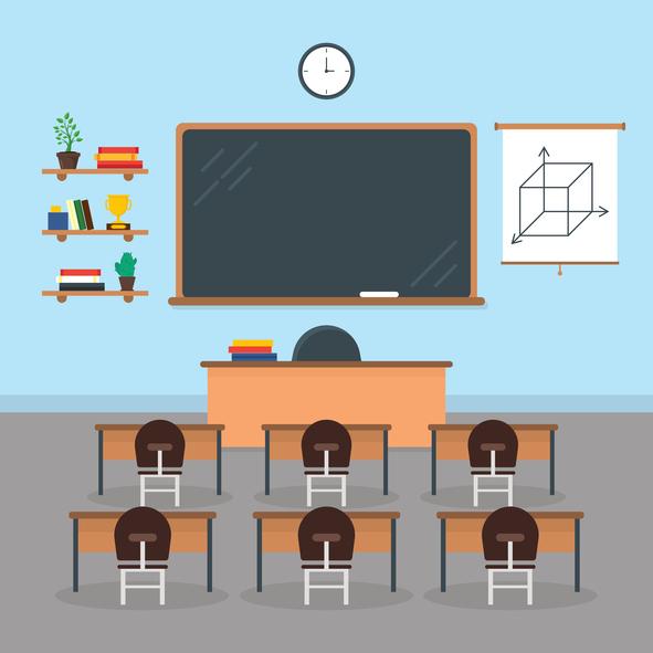 Cartoon interior of classroom